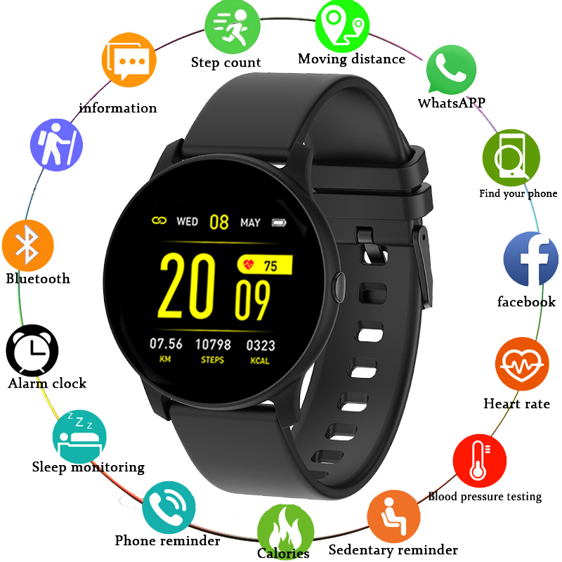 2019 New Smart Watch IP68 Waterproof  Fitness Tracker Heart Rate Monitor Music Control Men Women Smartwatch For Android IOS+Box