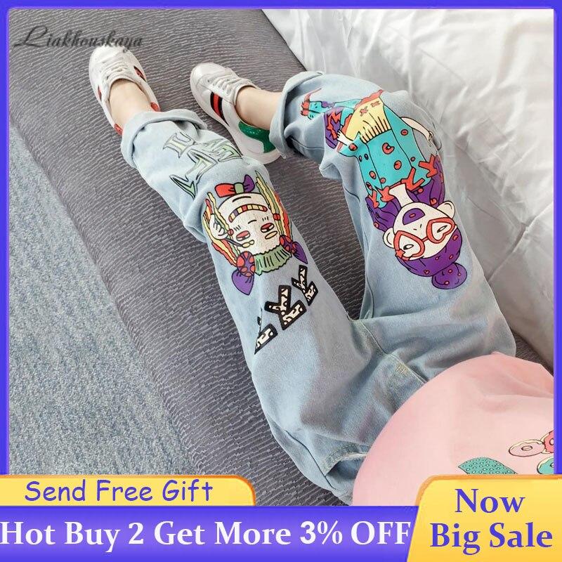 2020 Girls Jeans For Spring Autumn Girls Jeans Casual Denim Blue Baby Jeans Cartoon Doodle Children'S Boutique Pencil Trousers