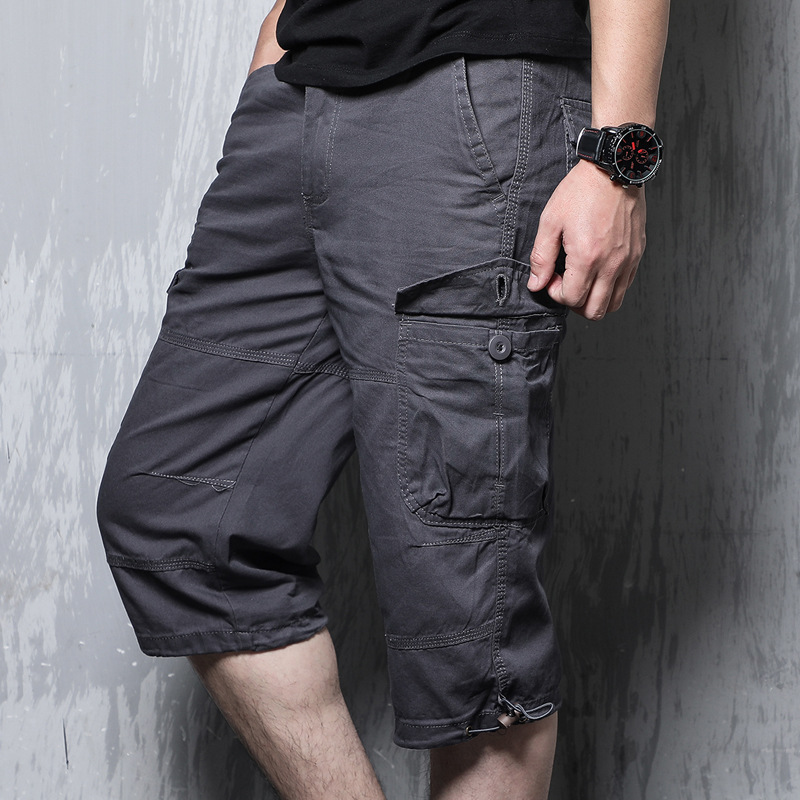Summer Men's Breeches Long Shorts With Pockets Military Zipper Men Cargo Shorts Tactical Bridges Short For Men Army Green Khaki