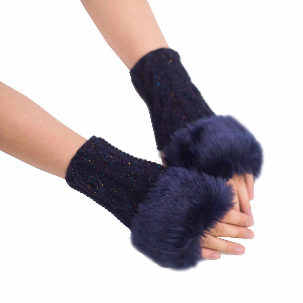 Mignon femmes fille chaud hiver Faux lapin fourrure poignet sans doigts rouge gants mitaines Handschoenen tactique gants Guantes
