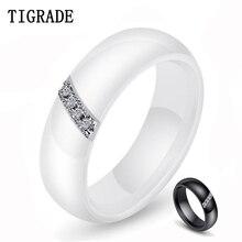 Tigrade White Ceramic Ring for Women Man Black Wedding Band 6mm Width Couple Rings Wholesale aliança de casamento Drop Shipper