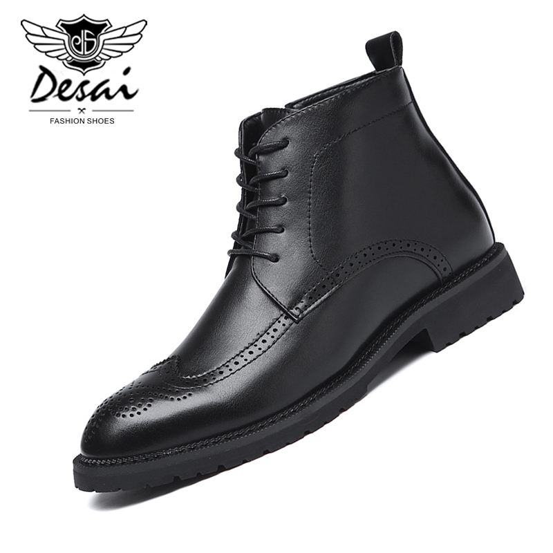 Men's Winter Fashion Pointed Boots Carved Brock Business Dress PU Leather Boots Casual Men's Boots Plus Size EU 38-48 Shoes Men