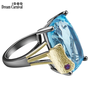 DreamCarnival1989 We Give U a Different Look Blue Solitaire Ring for Women Big Zircon Wedding Jewelry Party Must Have WA11905GUN