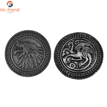 Game of Thrones House Stark Targaryen Brooches Wolf head dragon badge pin lapel Denim Jackets Collar Badge Pins