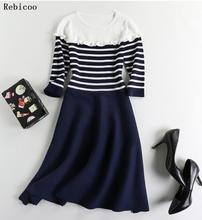 striped wrap dress Women knitting high bohemian autumn stripes long dresses Elegant winter party vestidos