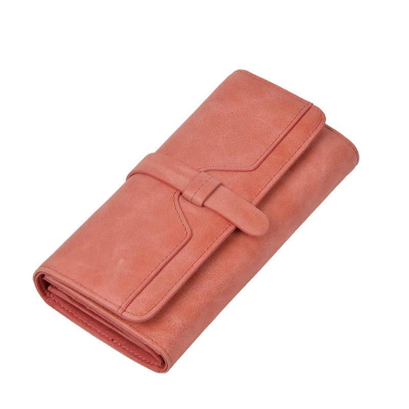 Prosto z fabryki portfel kobiet długo prawdziwej skóry czerwona karta blokująca rfid portfel panie skórzane portfele Vintage