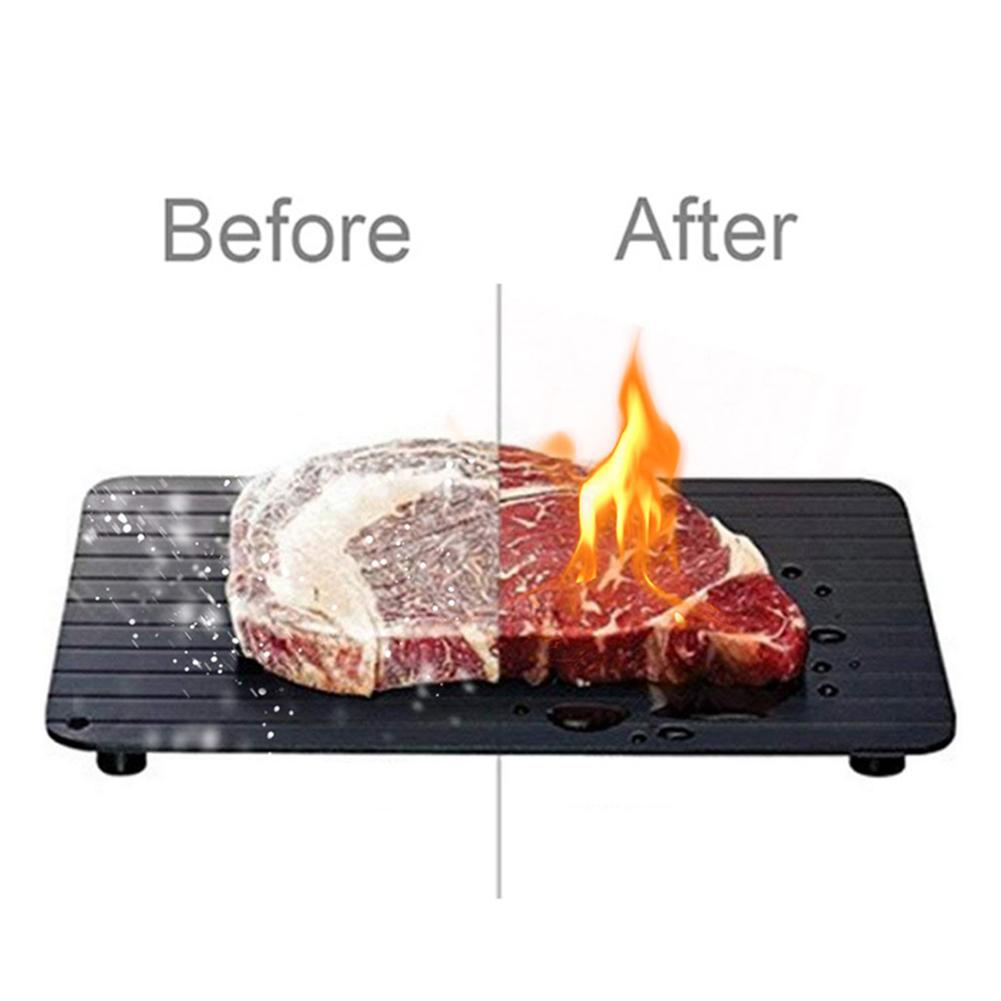 Home Kitchen Non-Stick Fast Defrosting Tray Thaw Frozen Food Meat Fruit Quick Defrosting Plate Board Defrost Kitchen Gadget Tool