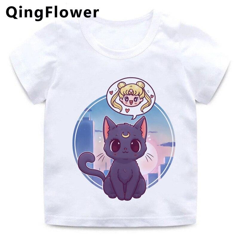 Camisa dos desenhos animados da lua do marinheiro harajuku engraçado t crianças bonito usagi anime japonês camiseta kawaii gráfico tshirt verão superior t crianças