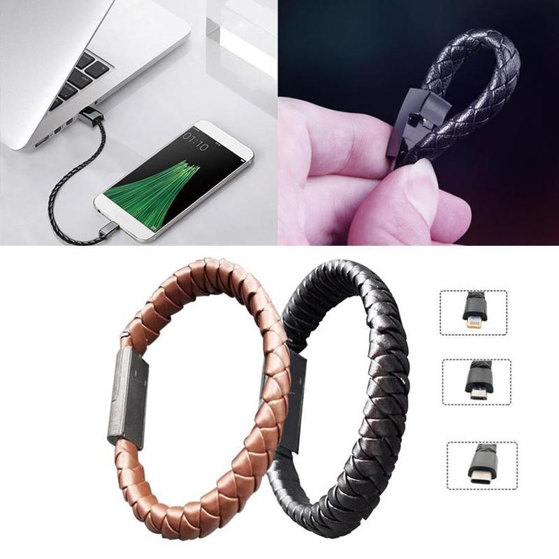 Portable Leather Bracelet USB Cable Phone Charging Wristband USB Cable Data Cord Micro USB Type C Ios Phone Cable