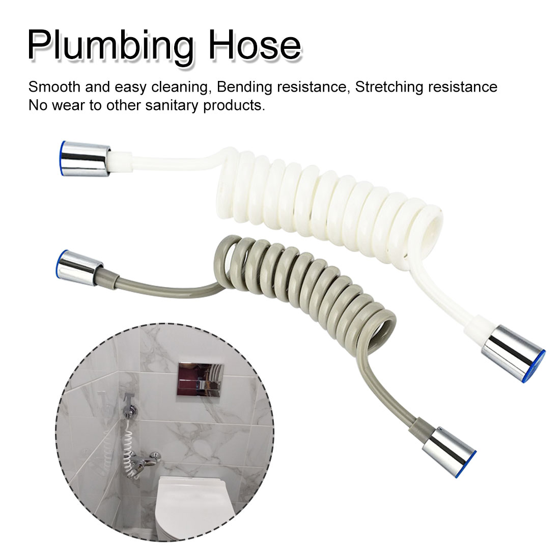 1.5m ABS Hose Water Plumbing Toilet Bidet Sprayer Gun Connect Pipe Flexible Telephone Line Style Spring Flexible Shower