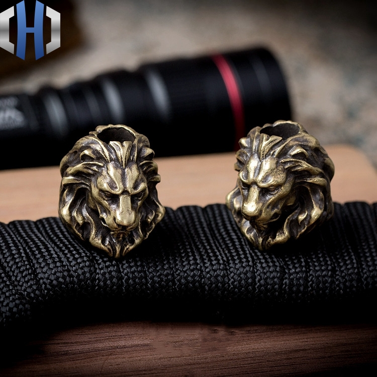 Original Lion King Knife Paracord Beads Handmade Key Pendant Outdoor EDC Copper Pendant DIY Knife Beads