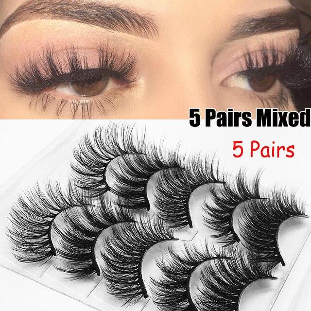5Pairs/Set Faux Mink Hair False Eyelashes Wispy Criss-cross Fluffy Thick Natural Handmade Lash Cruelty-free Eye Makeup Tools 5