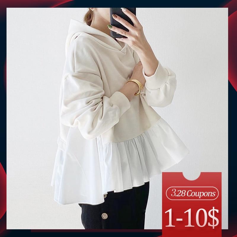 2020 Spring Long Sleeve Women Hoodie Korean White Ruffles Patchwork Loose Pullover Tops Harajuku Oversized Sweatshirt Streetwear
