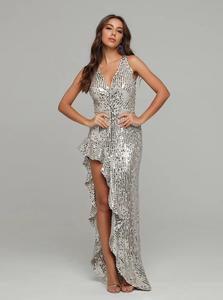 Image 4 - فستان نسائي مثير بياقة على شكل V مع ترتر مكشكش للحفلات فستان طويل للسهرات بتصميم للسيدات