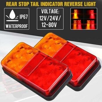 2PCS 12V 24V LED Tail Light Taillight Turn Signal Indicator Stop Lamp Rear Brake Light for Car Truck Trailer Caravan