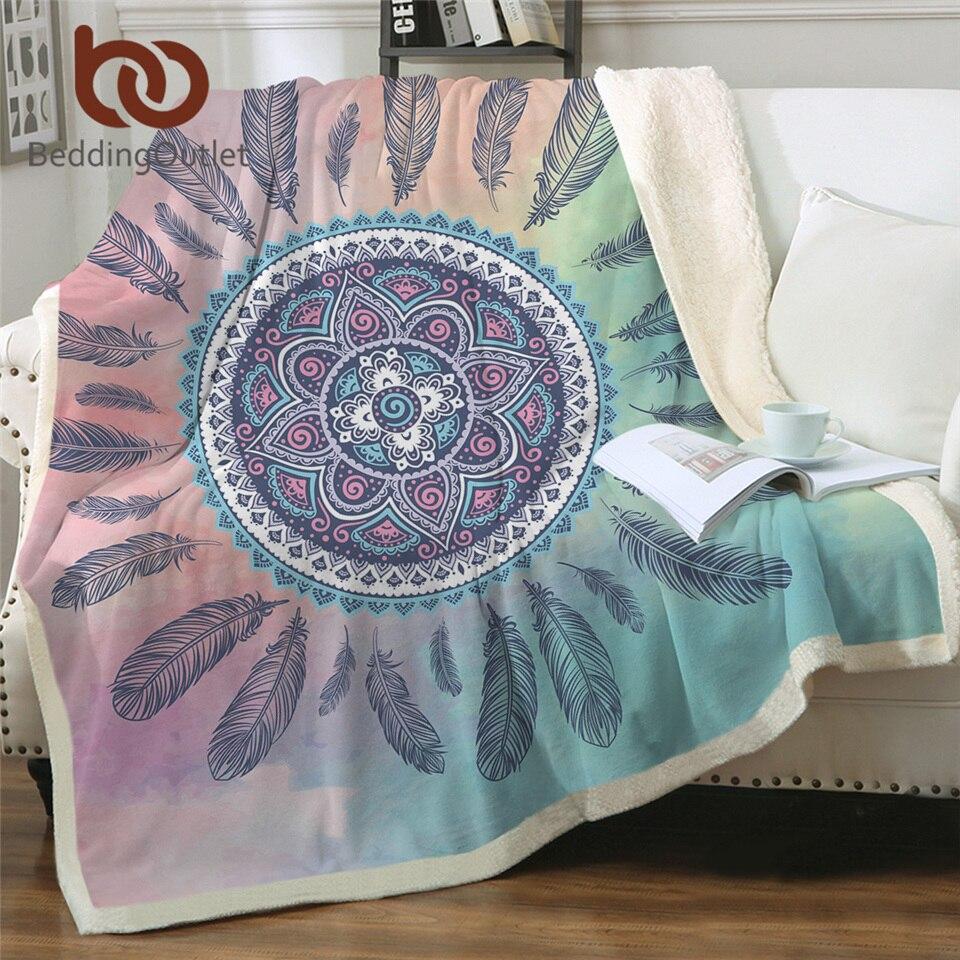 BeddingOutlet Mandala Boho Decke Dreamcatcher Böhmischen Sherpa Fleece Decke Plüsch Bettwäsche Rosa Blau Decke für Betten