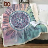 Beddingoutlet mandala boho lance cobertor dreamcatcher boêmio sherpa velo cobertor de pelúcia cama rosa azul cobertor para camas
