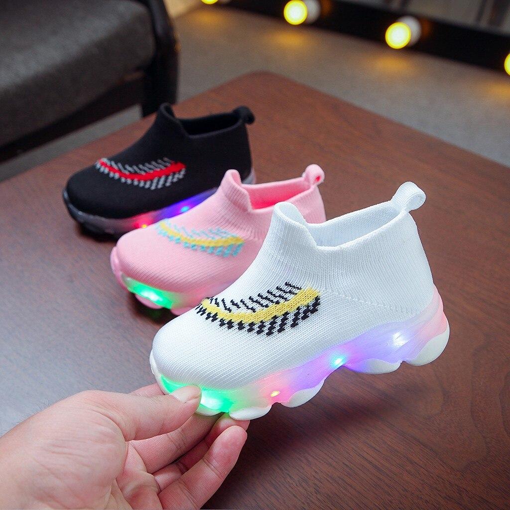 Children Baby Shoes Girl/&Boys Feather Mesh LED Luminous Socks Sport Run Sneakers