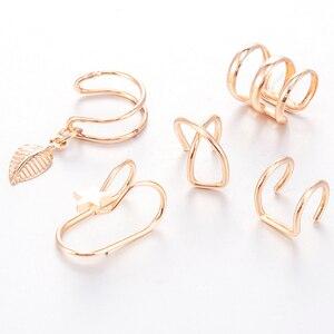 2019 Fashion 5Pcs/Set Ear Cuffs Gold Leaf Ear Cuff Clip Earrings for Women Earcuff No Piercing Fake Cartilage Earrings(China)