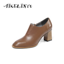 AIKELINYU New High Heels Women Pumps Square Head Zipper Pure Color Genuine Leather Ladies Shoes Fashion Woman 2019 Autumn