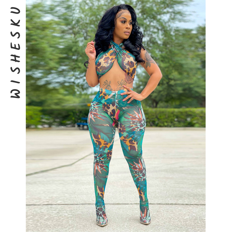 Sexy Print Mesh Sheer Two Piece Set Backless Crop Top Pantyhose 2021 Summer Outfits for Women Festival Club Matching Sets 1
