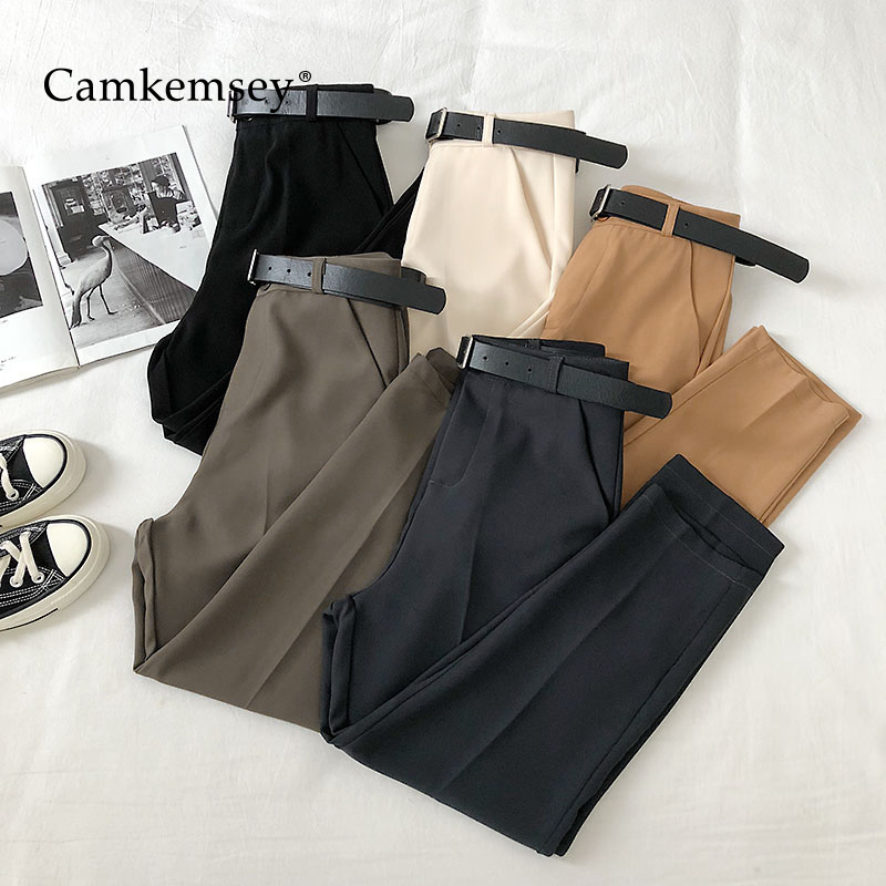 CamKemsey Work Wear Office Lady Suit Pants 2020 Korean Solid Casual High Waist Spring Ankle Length Harem Pants Women