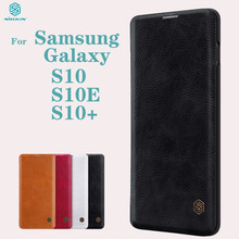 Dành Cho Samsung Galaxy Samsung Galaxy S10 S10e S10 + Plus Flip Case Nillkin Qin Da Thẻ Bỏ Túi Ví Bảo Vệ Flip Dành Cho samsung S10Plus