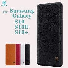 Pour Samsung Galaxy S10 S10e S10 + Plus étui à rabat Nillkin QIN cuir carte poche portefeuille protection couvercle rabattable pour Samsung S10Plus