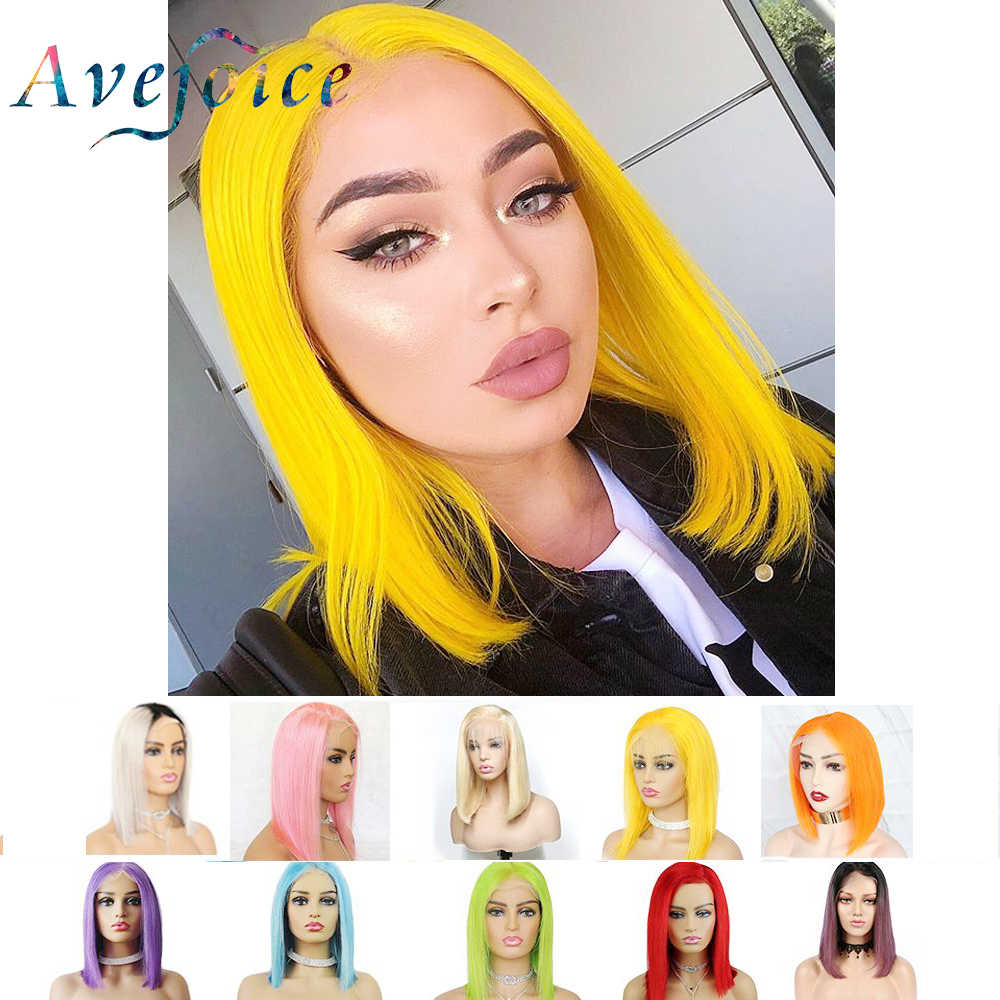 Avejoice Yellow Bob Lace Front Wigs Human Hair 13X4 Pre Plucked 613 Blonde Blue Red Grey Green Pink Ombre Bob Wigs For Remy Hair