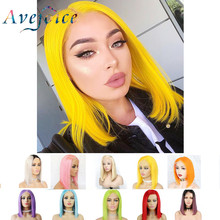 Perruque Bob Lace Front wig Remy naturelle jaune-Avejoice | 13x4, pre-plucked, couleurs 613 blond, bleu, rouge, gris, vert, rose ombré, perruque Bob(China)