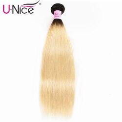 Tissage naturel brésilien Remy lisse-Unice Hair, couleur ombré 1B/613, blond miel, 10-20 pouces, 1 pièce
