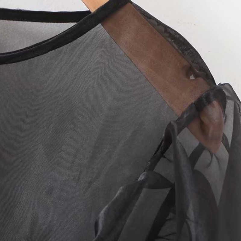 Elegante Organza Patchwork Blusas Mulheres 2019 Moda do vintage O Pescoço de Manga Longa Ver Através de Camisas Blusas Mujer Topos Chiques