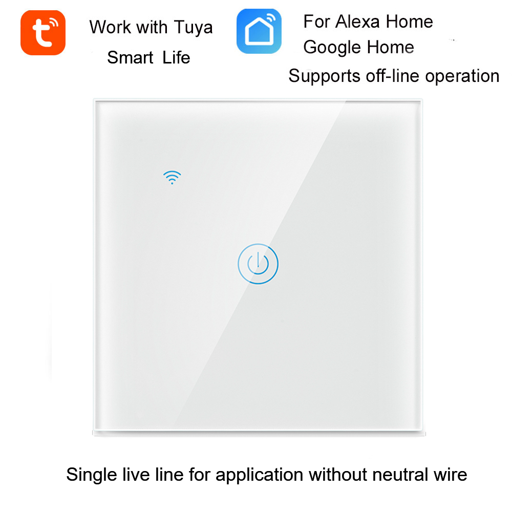 Tuya WiFi Smart Switch Wall Light Switch WiFi Single live line for application without neutral wire