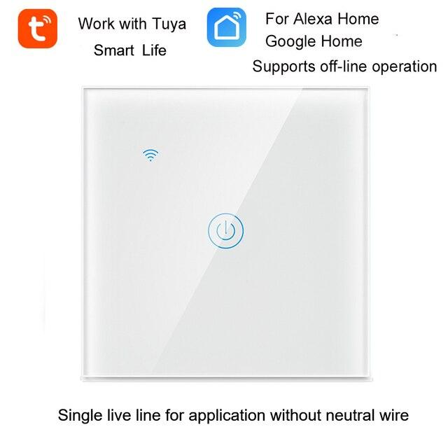 Tuya wifi interruptor de luz de parede interruptor inteligente única linha viva para a aplicação sem fio neutro