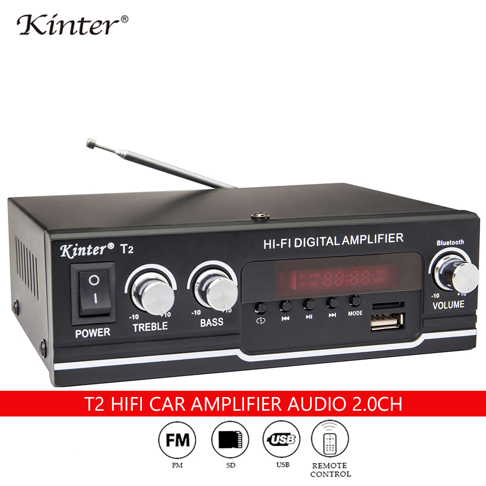 Kinter T2 Hifi Car Amplifier Audio 2.0CH 20W Stereo Sound For Bluetooth USB TF Input FM Radio Supply Power AC220V DC 12V Black