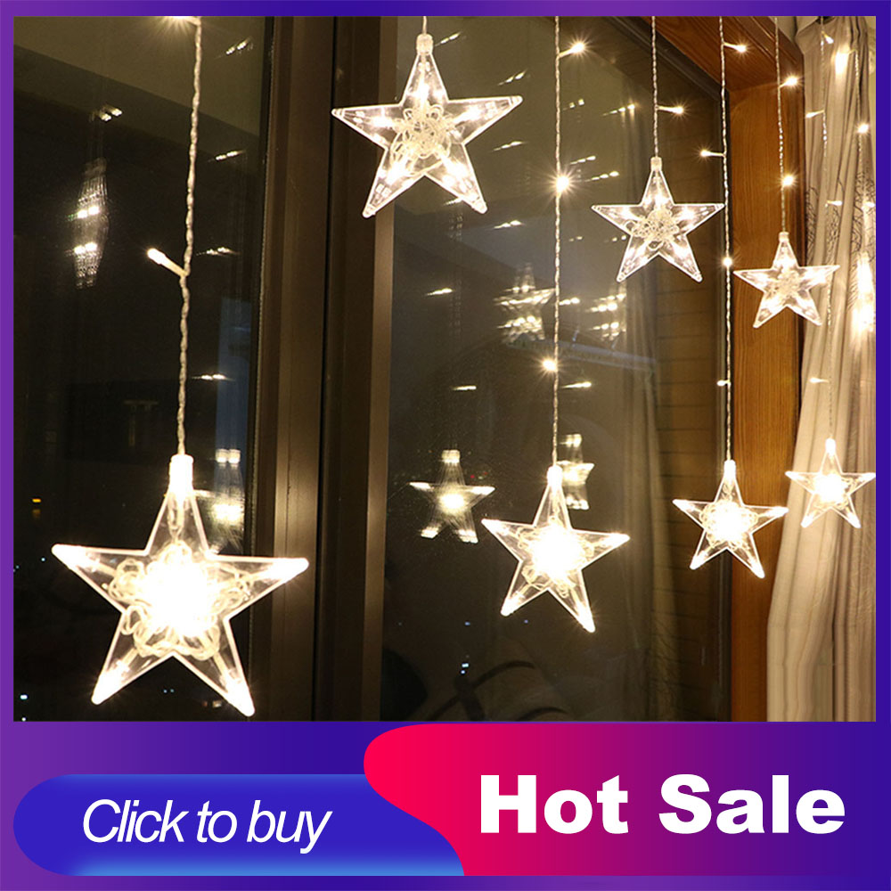 2 5M LED Christmas Lights Star Curtain String Light 220V Fairy Light Outdoor Indoor Garland For Party Wedding Holiday Decoration