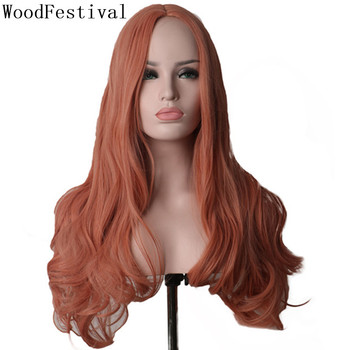 WoodFestival Party Cosplay Wig Long Hair Synthetic Wigs for Women Heat Resistant Female Wavy ombre colored Blonde Pastel Pink цена 2017