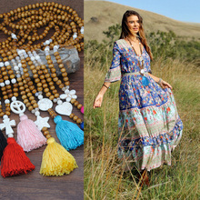 Colorful Tassel Wood Bead Woven Vintage Ethnic Bohemian Boho Necklace Handmade Heart Star Nature Stone Long Sweater