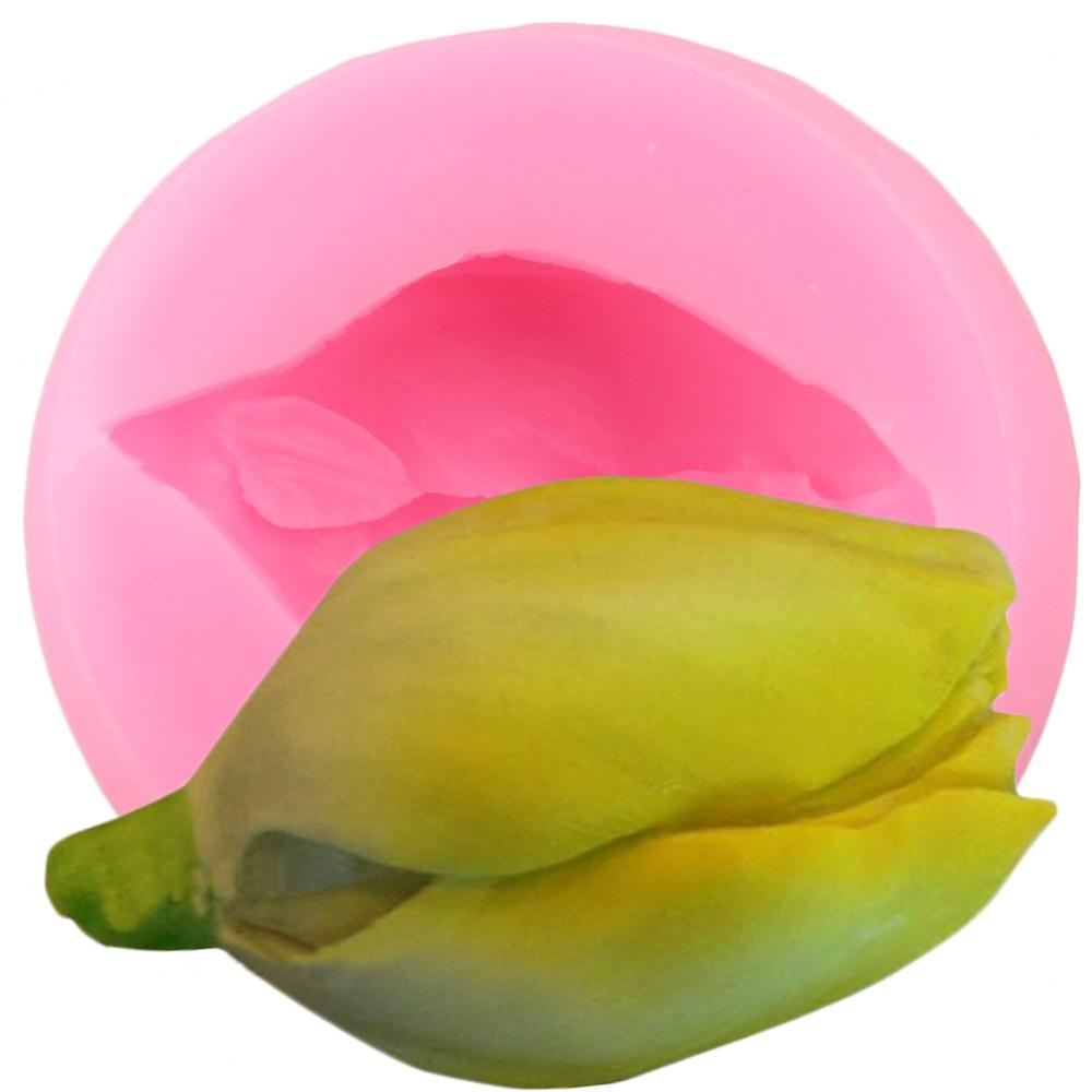 Flor tulipa silicone molde diy rosa bud fondant ferramentas de decoração do bolo cupcake topper doces argila chocolate gumpaste moldes