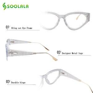 Image 5 - SOOLALA Bling очки для чтения «кошачий глаз» женские с чехлом оправа для очков женские очки для дальнозоркости + 0,5 0,75 1,0 1,25 1,5 до 4,0