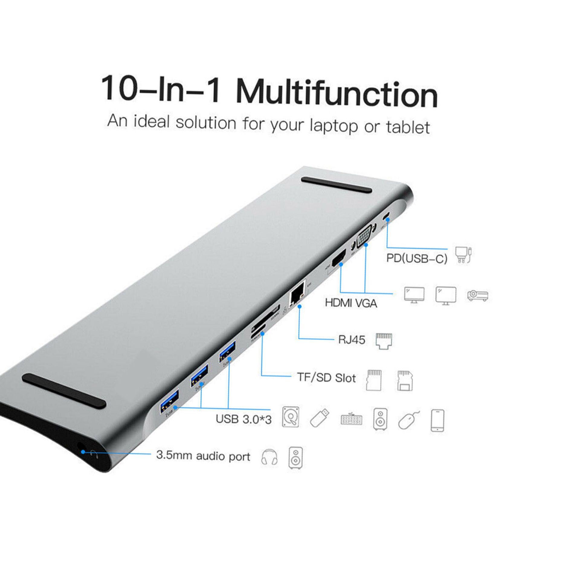 Dock Adapter for usbc hub type c HDMI USB3 0 RJ45 VGA PD chrage 3 5mm