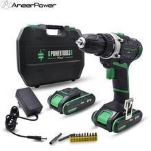 цена на 21V Plus Cordless Drill Electric Drill 2 Batteries Electric Screwdriver Power Tools Battery Mini Hand Drill Drilling Screwdriver