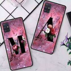 Funda de teléfono con diseño de flores para Samsung Galaxy, carcasa de color rosa con letras A y B para Samsung Galaxy A51, A71, A21s, M31, A31, A91, A41, A42, A21, M51, M21, F41, Cas, carcasa negra