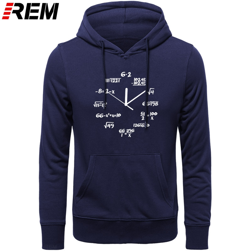 REM Sweatshirts Cotton Math Clock Print Funny Men Hoodies Casual LONG Sleeve O-neck Men Cool Mens Hoodies, Sweatshirts
