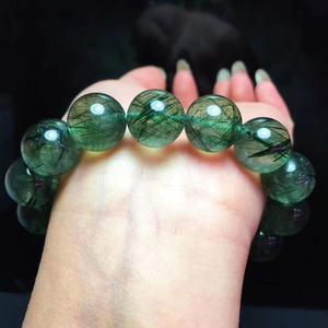 Image 3 - Véritable Bracelet de pierres précieuses de Quartz rutilé vert naturel du brésil femmes hommes Bracelet de perles rondes en cristal 12mm 13mm 14mm AAAAA