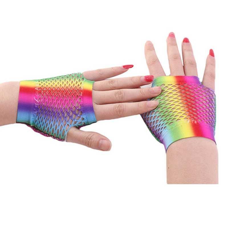 חדש נשים סקסיות גבירותיי Mesh כפפה קשת צבע כפפות ללא אצבעות קצרה רשת כפפות ביגוד אבזרים