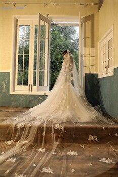 Sapphire Bridal Hot Sale Wedding Veil Cut Edge Cathedral Wedding Accessories Ivory 4m Long Voile Marriage Applique Bridal Veil