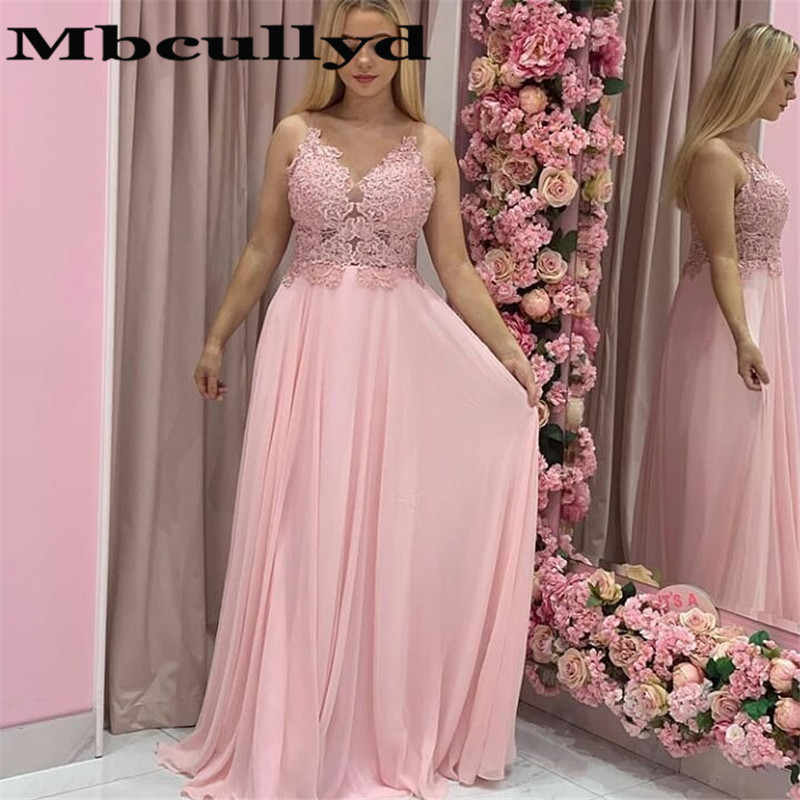 Mbcullyd Pink Chiffon Long Prom Dresses 2020 Sexy Sheer Lace Evening Party Dress For Women Formal Plus Size Robe De Soiree