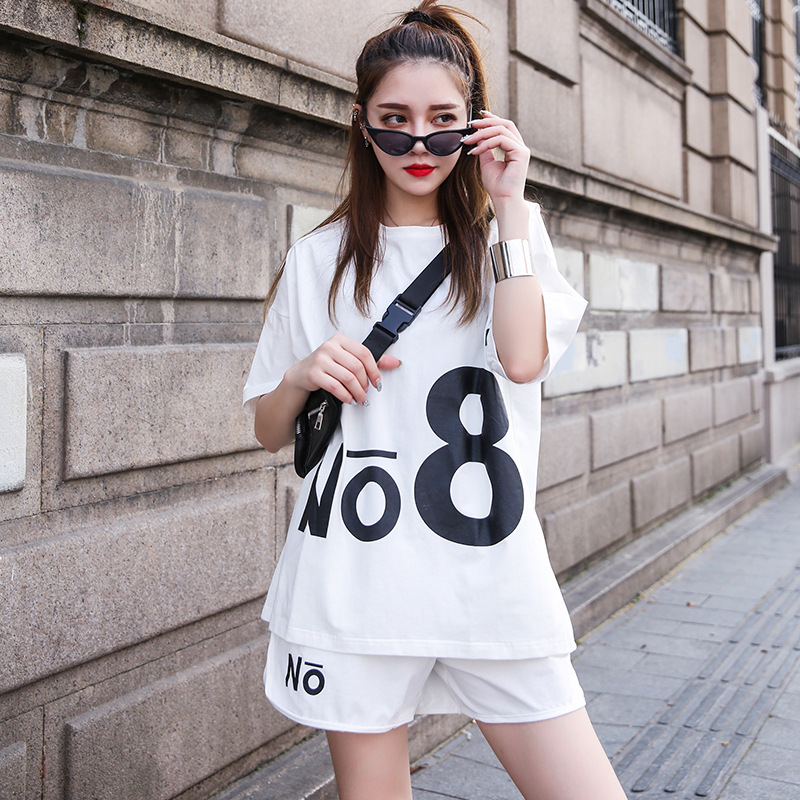 Casual Sports Clothing WOMEN'S Suit 2019 Summer New Style Korean-style Large Size Loose Short Sleeve Shorts Trendy Two-Piece Set