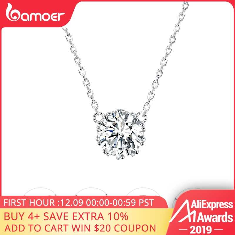 bamoer Simple Minimalist Short Necklace for Women 925 Sterling Silver Clear Cubic Zircon Chain Necklaces Wedding Jewelry BSN085